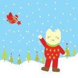 Julillustration med den gulliga katten och fågeln på snöfallbakgrund Stock Illustrationer