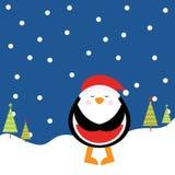 Julillustration med den gulliga pingvinet på nattbakgrund som är passande för kort för barnXmas-hälsning och inbjudan Vektor Illustrationer