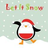 Julillustration med den gulliga pingvinet på snöbakgrund som är passande för kort och inbjudan för barnXmas-hälsning Stock Illustrationer