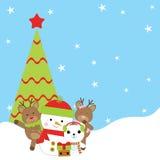 Julillustration med den gulliga snögubben, björnen, hjortar och Xmas-trädet som är passande för kort för barnXmas-hälsning, vykor Stock Illustrationer