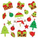 Julillustration med den gulliga snögubben, klockan, gåvan, stjärnan och Xmas-prydnader på grön röd färg som är passande för barnX Royaltyfri Illustrationer