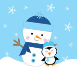 Julillustration med den gulliga snögubben och pingvinet som är passande för kort för barnXmas-hälsning, vykort och inbjudankort Vektor Illustrationer
