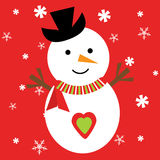Julillustration med den gulliga snögubben på röd bakgrund för snöflingor Vektor Illustrationer