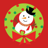 Julillustration med den gulliga snögubben på Xmas-kransen på röd bakgrund Fotografering för Bildbyråer
