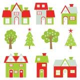 Julillustration med det färgrika huset och Xmas-träd som är passande för uppsättning för barnXmas-klistermärke och gemkonst Vektor Illustrationer