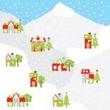 Julillustration med det färgrika huset på berget som är passande för Xmas-hälsningkort, vykort och tapet Arkivfoton
