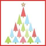 Julillustration med det färgrika Xmas-trädet som är passande för Xmas-hälsningkort, tapet och vykort Stock Illustrationer