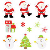 Julillustration med det gulliga Santa Claus, hus-, snögubbe- och Xmas-trädet Vektor Illustrationer