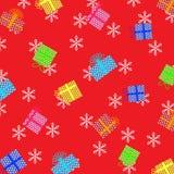 Julillustration med färgrika gåvor och röd bakgrund Stock Illustrationer