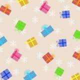 Julillustration med färgrika gåvor och snöbakgrund Stock Illustrationer