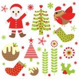 Julillustration med gulliga Santa Claus, fågeln och Xmas-prydnader som är passande för Xmas-klistermärkeuppsättning och gemkonst Stock Illustrationer