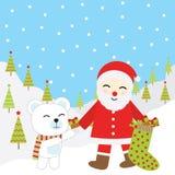 Julillustration med gulliga Santa Claus och björnen som är passande för Xmas-hälsningkort, tapet och vykort Royaltyfri Bild