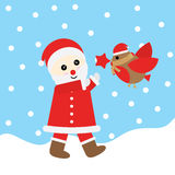 Julillustration med gulliga Santa Claus och fågeln som är passande för Xmas-hälsningkort, tapet och vykort Royaltyfri Fotografi