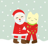 Julillustration med gulliga Santa Claus och katten på snönedgångbakgrunden som är passande för Xmas-hälsningkortet, vykort, Royaltyfria Bilder