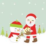 Julillustration med gulliga Santa Claus och snögubben som är passande för Xmas-hälsningkort, tapet och vykort Royaltyfria Bilder