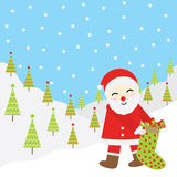 Julillustration med gulliga Santa Claus på snöbakgrund som är passande för Xmas-hälsningkort, tapet och vykort Arkivfoto