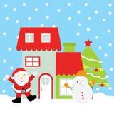 Julillustration med gulliga Santa Claus, snögubben, Xmas-trädet och det röda huset Stock Illustrationer