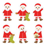 Julillustration med gulliga Santa Claus som är passande för Xmas-klistermärkeuppsättning och gemkonst Stock Illustrationer