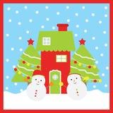 Julillustration med gulliga snögubbear, Xmas-trädet och det röda huset Stock Illustrationer