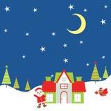 Julillustration med Santa Claus och fågeln på natten som är passande för Xmas-hälsningkort, vykort och tapet Royaltyfri Foto