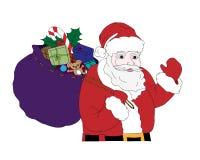 Julillustration med Santa Claus som mycket bär en säck av gåvor, färgrikt Arkivbilder