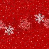 Julillustration med snöflingor på mörkt - röd bakgrund i röda färger royaltyfri illustrationer