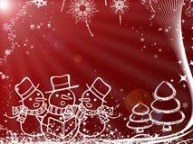 Julillustration med snögubben för hälsningkort Arkivfoto