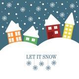 Julillustrationen med citationstecken lät det snöa Fotografering för Bildbyråer