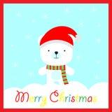 Julillustrationen med den gulliga björnen på snöflingabakgrund på blått inramar passande för vykort, tapet och hälsningkort Royaltyfri Illustrationer