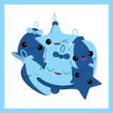 Julillustrationen med gulliga Xmas-prydnader på blått färgar passande för kortet för barnXmas-hälsningen, vykortet och inbjudan c Vektor Illustrationer