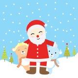 Julillustrationen med gulligt behandla som ett barn björnar och Santa Claus som är passande för Xmas-hälsningkort, tapet och vyko Arkivbild