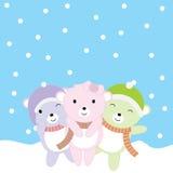 Julillustrationen med gulligt behandla som ett barn björnar på snönedgångbakgrund som är passande för Xmas-hälsningkort, tapet oc Fotografering för Bildbyråer