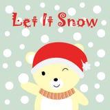 Julillustrationen med gulligt behandla som ett barn björnen och snöar som är passande för Xmas-hälsningkort, tapet och vykort Royaltyfri Bild