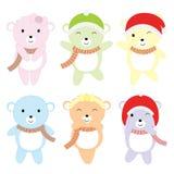 Julillustrationen med gulligt färgrikt behandla som ett barn björnar som är passande för uppsättning för barnXmas-klistermärke oc Vektor Illustrationer