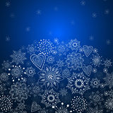 Julinbjudankort med blå bakgrund Royaltyfria Bilder
