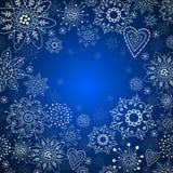 Julinbjudankort med den vita snowflaken Arkivbilder