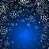 Julinbjudankort med snowflaken Arkivbild
