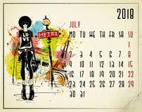 julio Calendario de 2018 europeos con la muchacha de la moda stock de ilustración