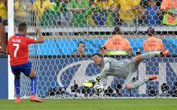 Julio Cesar and  Alexis Sanchez Coupe du Monde 2014 Royalty Free Stock Image