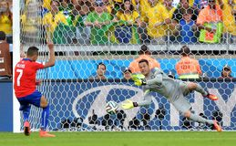 Julio Cesar and  Alexis Sanchez Coupe du Monde 2014 Stock Photos