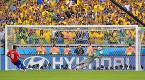 Julio Cesar e Gonzalo Jara Coupe du Monde 2014 Imagens de Stock