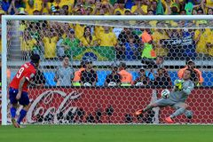 Julio Cesar and Mauricio Pinilla Coupe du Monde 2014 Royalty Free Stock Images