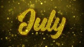 Julio desea la tarjeta de felicitaciones, invitación, fuego artificial de la celebración