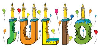 Julio male first name bitten colorful 3d lettering birthday cake with candles and balloons.  Stock Images