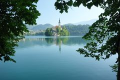 Julische alpen, bohinj lake, church. From the trip on the top of Julische alpen - Triglav Stock Photography