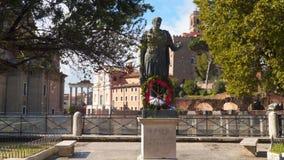 Julius Caesar Bronze Statue Roman Forum stock footage