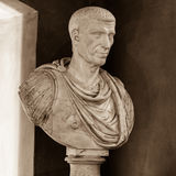 Julius Cesar (100-44 BC). POLAND, POZNAN - 23 DEC 2014: Julius Cesar (100-44 BC) intentional portrait, 18th c., marble, captured at Raczynski Museum, sepia tone royalty free stock photos