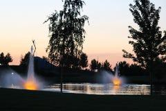 Julius M Kleiner Memorial Park på skymning Arkivbild