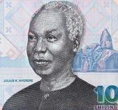 Julius Nyerere face portrait on 1000 Tanzania shilling closeup m Royalty Free Stock Image
