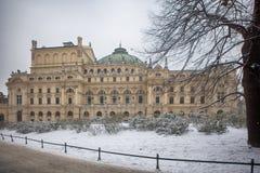 Juliush Slowacki teater i gammal stad av Krakow Arkivfoton